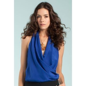 Trina Turk Alps Mock Wrap Silk Top Mirage Blue